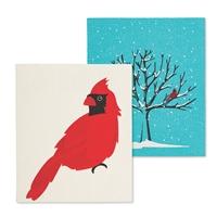 Cardinal & Tree Swedish Dish Cloth Set