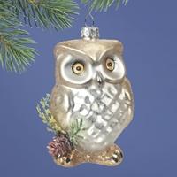 White Owl Glass Ornament