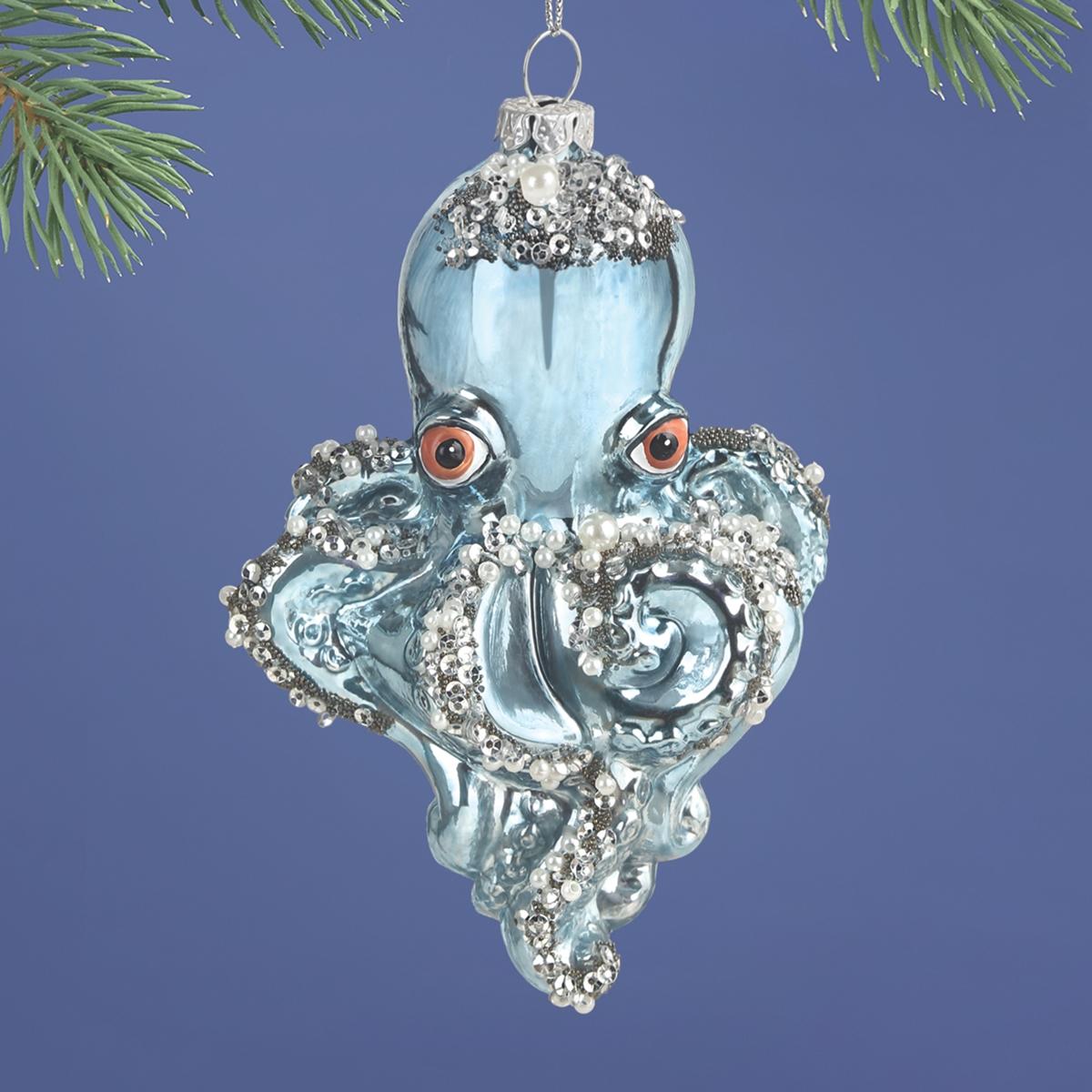 Octopus Glass Ornament
