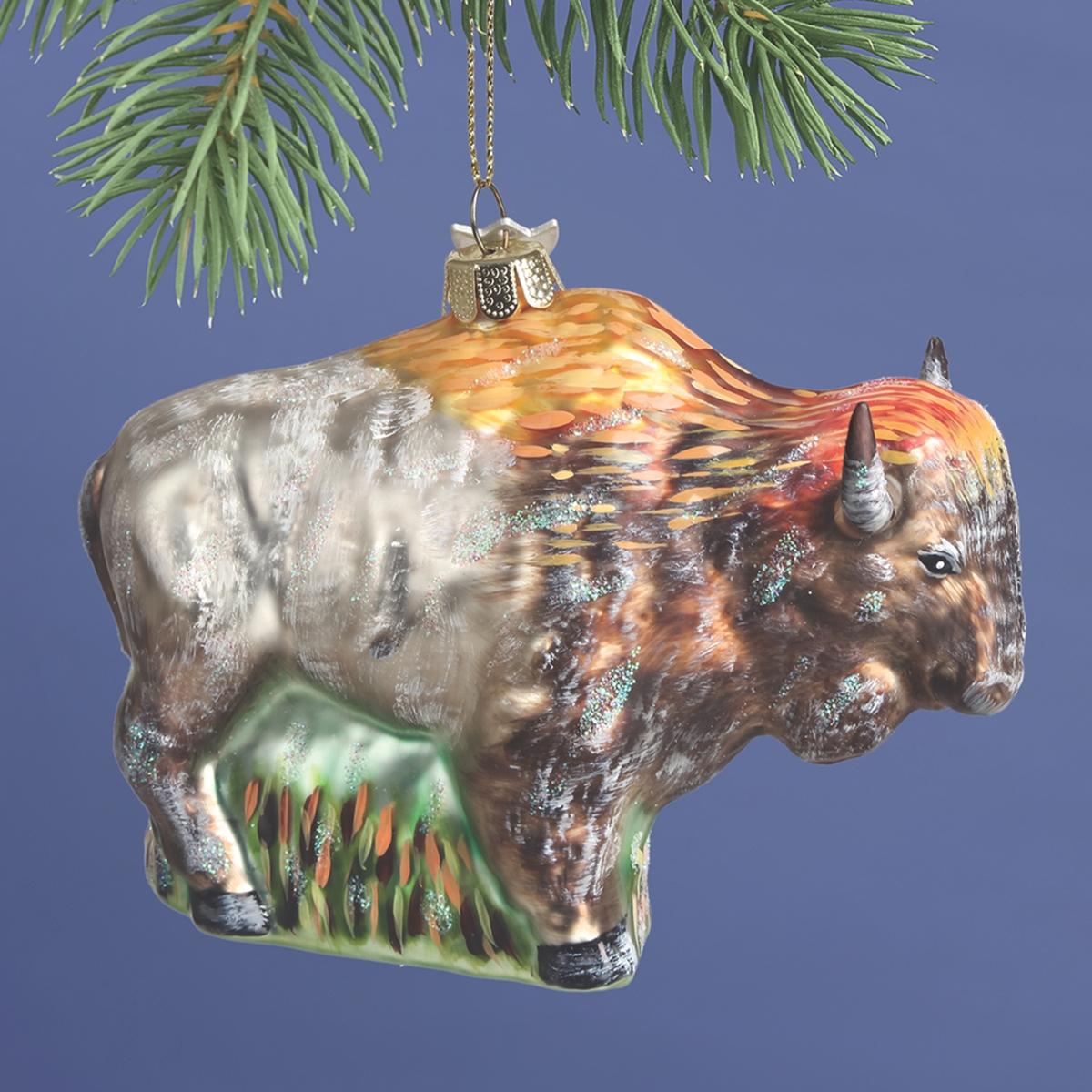 Bison Glass Ornament