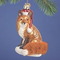 Christmas Fox Glass Ornament