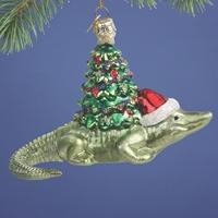 Alligator Glass Ornament
