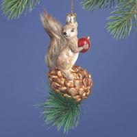 Squirrel on Pine Cone Glass Ornament