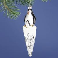 Penguin on Iceberg Glass Ornament