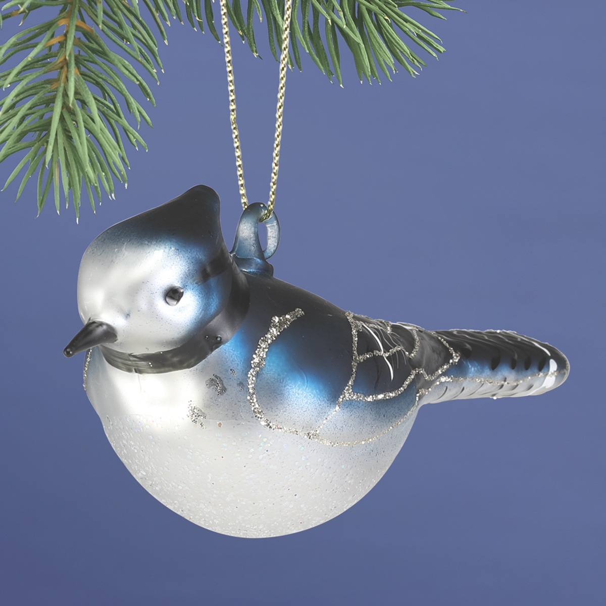 Blue Jay Glass Ornament