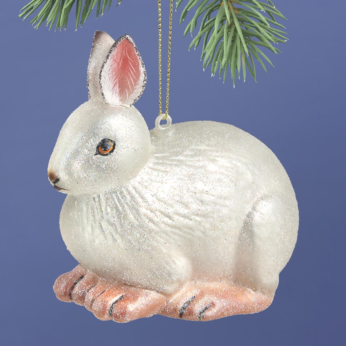Snowshoe Hare Glass Ornament