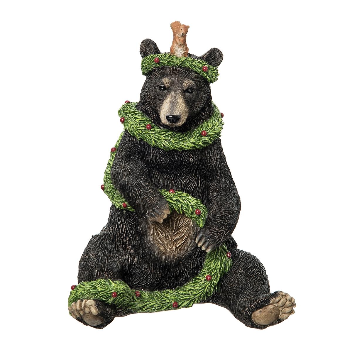 Playful Black Bear Figurine