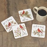 Cardinal Season Coaster Set
