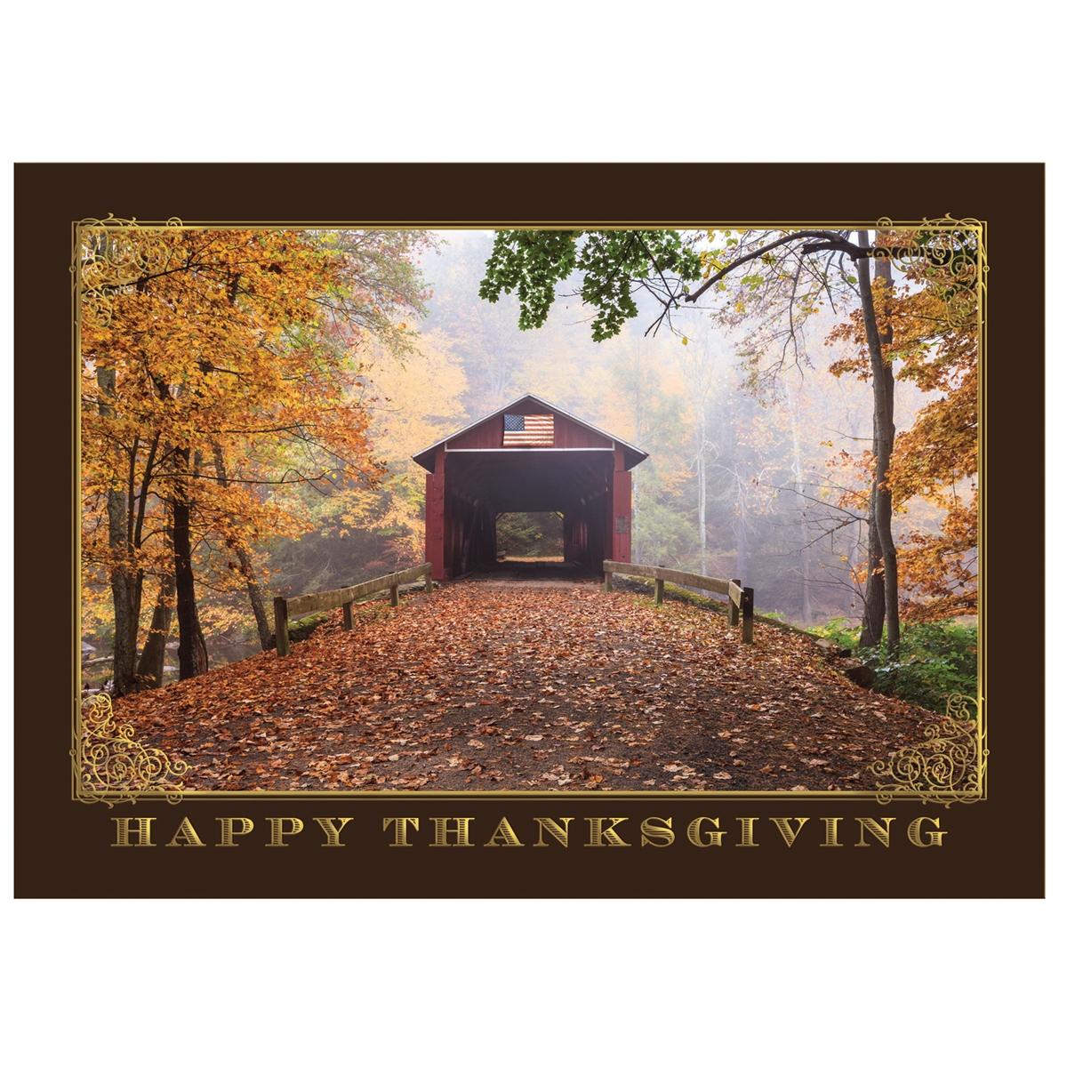 Patriotic Covered Bridge Thanksgiving Cards