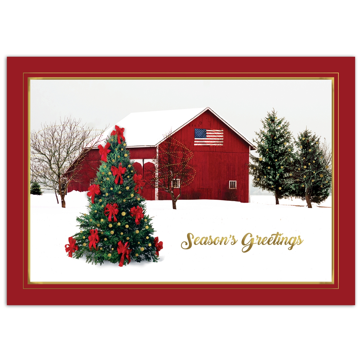 Serene Winter Barn Card