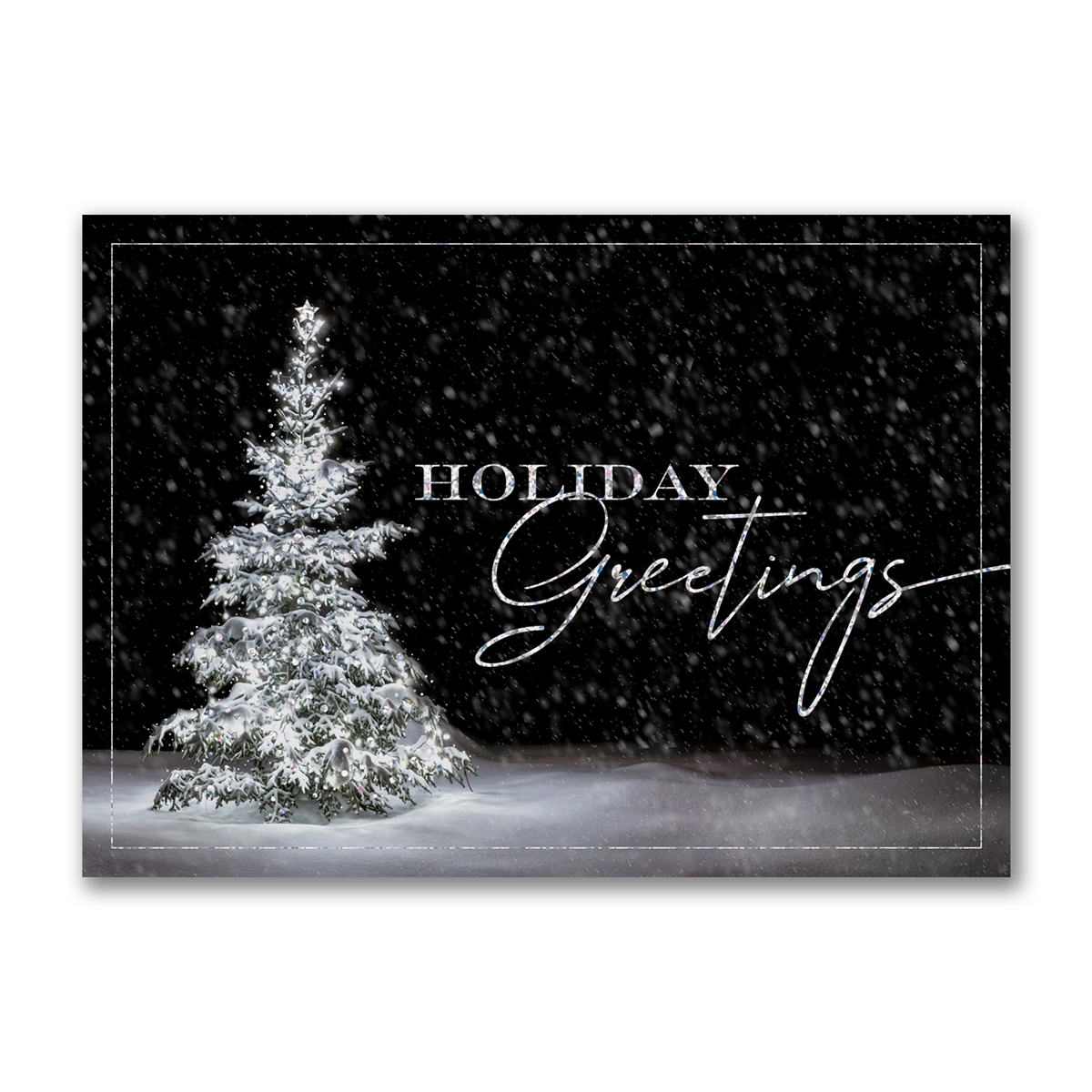 Christmas Tree at Night Holiday Cards