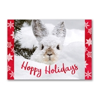 Snowshoe Hare in Moose Print Holiday Cards